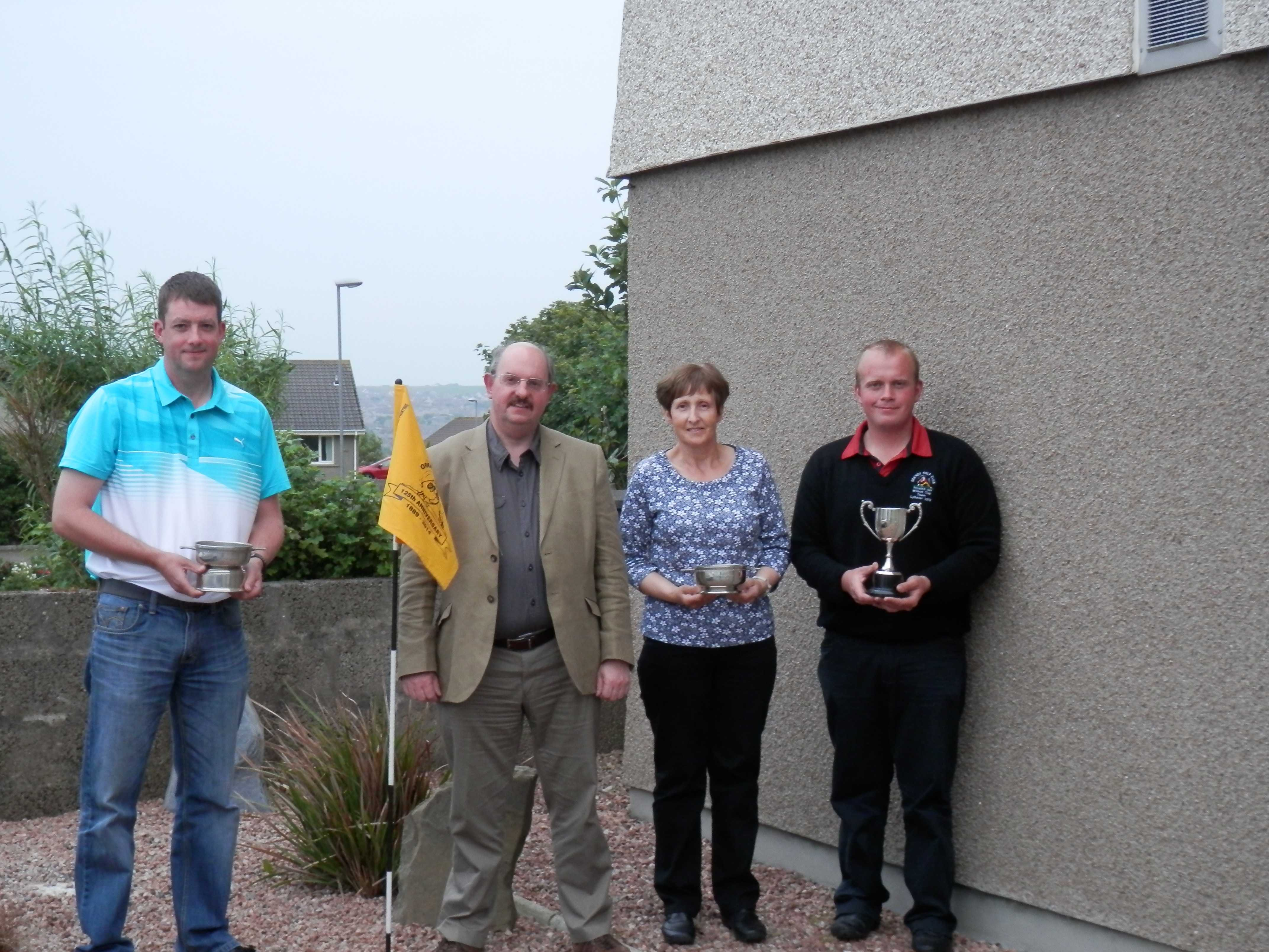 2014 Lows Orkney Open winners -  Stuart Anderson (Whalsay), Allie Bruce (Lows), Maggie Learmonth and Steven Rendall
