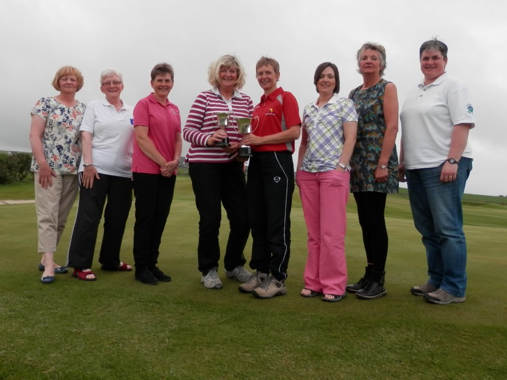2014 Orkney ladies Open Winners - A Poke, C Harcus, L Bonner, Nett Cup Winner L Ross, Gross Cup Winner S Croy, R Bannerman, I Seator & K Sutherland