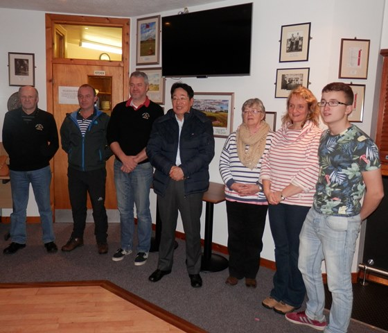 2014 Sponsor Presentation to Junior Section.  Left to right Ali Learmonth, Gary Sinclair, Stewart Gray, Saburo Nakagome (Sponsor), Marianne Tait, Elizabeth Harcus & Thorfinn Gray.